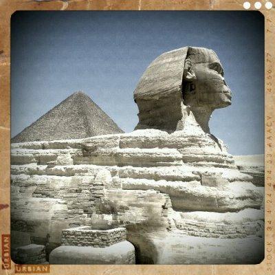 Pyramide og Sfinxen i Egypten