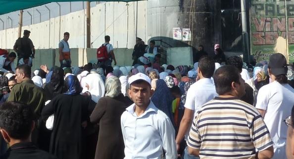 Kaos ved Qalandia checkpoint under Ramadanen 2011