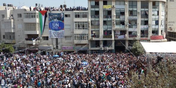 Arafar square i Ramallah for UN bid festival on 21. september 2011