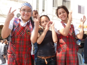 Palestinian school girls celebrating UN bid
