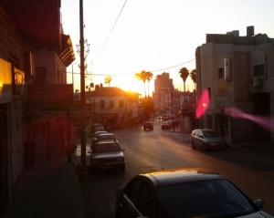 Sun set over 'Rukab street' in Ramallah