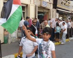 Palæstinensisk dreng med flag til Abbas' tale til FN 23. september 2011