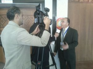 Organizer Khaled Abi Aker speaks to Ma'an news before the conferece Palconnect