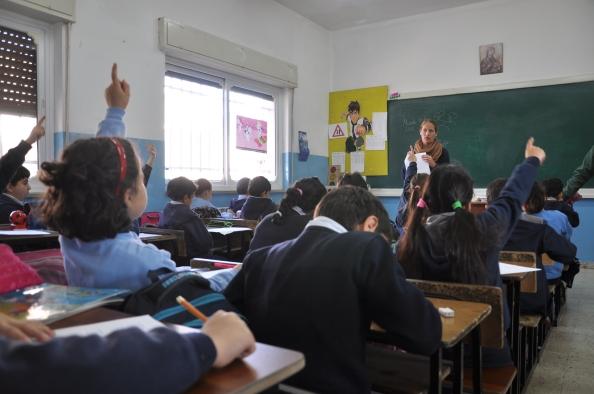 Palæstinensiske børn i 2. klasse på Ramallahs græsk-katolske skole